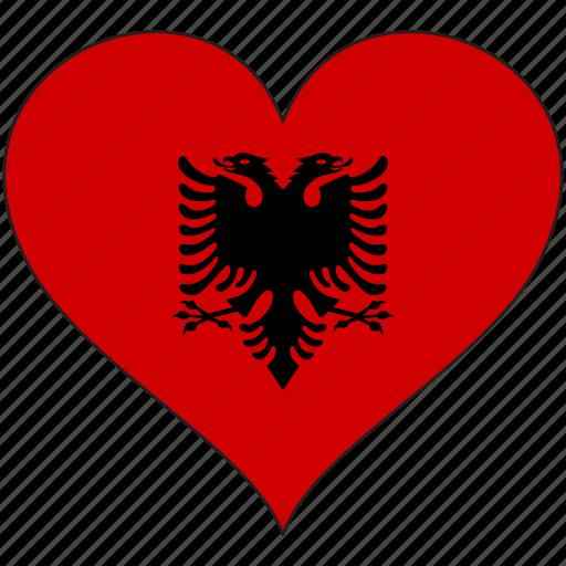 albania, europe, european, flag, heart, national icon