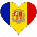 andorra, europe, european, flag, heart, love, national icon
