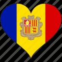 andorra, flag, heart, europe, european, love, national