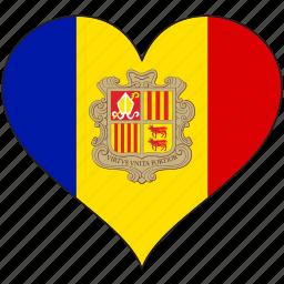 andorra, europe, european, flag, heart, love, national icon