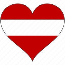 austria, europe, european, flag, heart, love, national icon