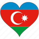 azerbaijan, europe, european, flag, heart, national icon