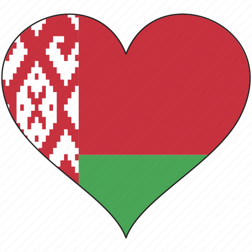 belarus, country, europe, european, flag, heart icon