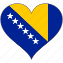 bosnia, europe, european, flag, heart, love, national icon