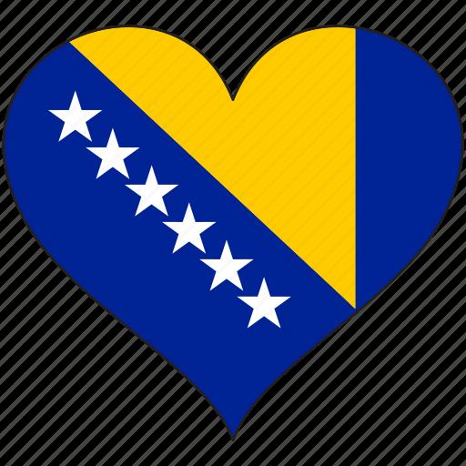 bosnia, europe, european, flag, heart, love, national icon
