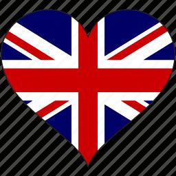 britain, england, europe, european, flag, heart, kingdom icon