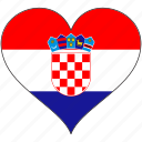 croatia, europe, european, flag, heart, love, national icon