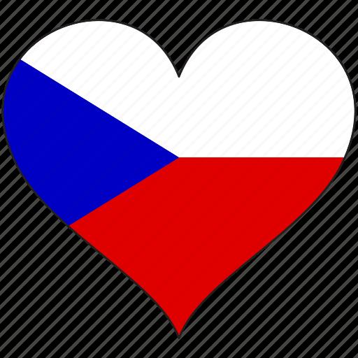 czech, europe, european, flag, heart icon