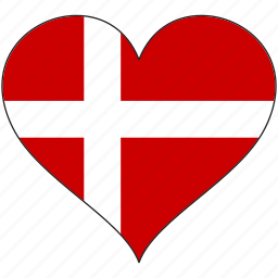country, denmark, europe, european, flag, heart, love icon