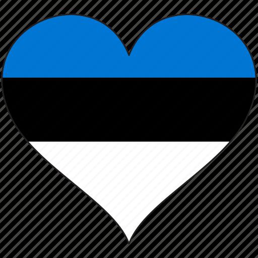 country, estonia, europe, european, flag, heart icon