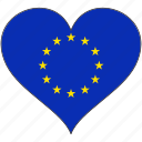 country, eu, europe, european, flag, heart, union icon