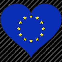 country, eu, europe, european, flag, heart, union icon