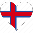 country, europe, european, faroe, flag, heart icon