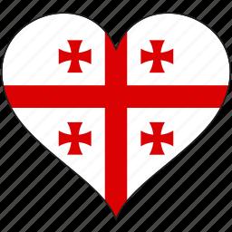 europe, european, flag, georgia, heart, love, national icon