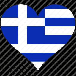 europe, european, flag, greece, heart icon