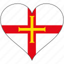 europe, european, flag, guernsey, heart, love, national icon