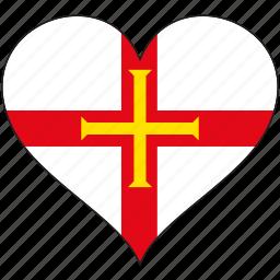 europe, european, flag, guernsey, heart, love, national icon