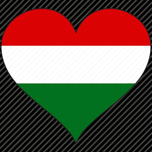 europe, european, flag, heart, hungary, love icon