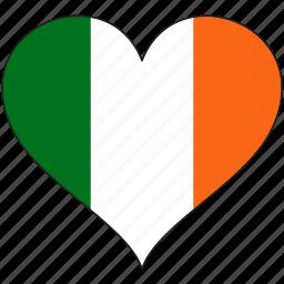 country, europe, european, flag, heart, ireland, love icon