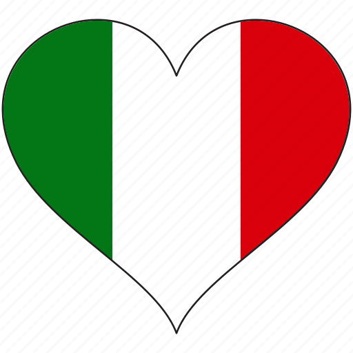 country, europe, european, flag, heart, italy icon