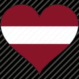 country, europe, european, flag, heart, latvia icon