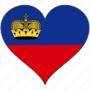 europe, european, flag, heart, liechtenstein, love, national icon