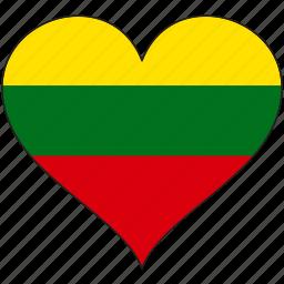 europe, european, flag, heart, lithuania icon