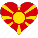 country, europe, european, flag, heart, macedonia icon