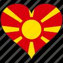 flag, heart, macedonia, europe, european, country
