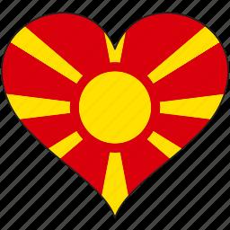country, europe, european, flag, heart, macedonia icon