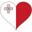 country, europe, european, flag, heart, love, malta icon