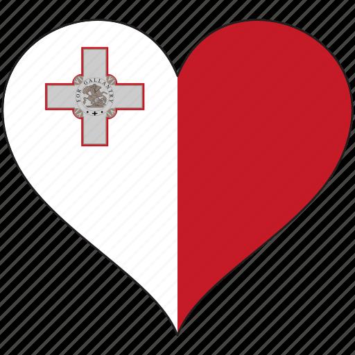 country, europe, european, flag, heart, love, malta icon