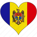 country, europe, european, flag, heart, moldova icon