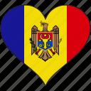 flag, heart, moldova, europe, european, country