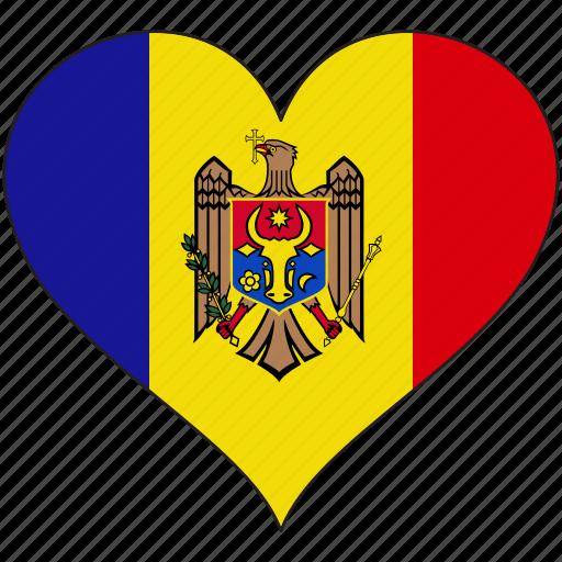 country, europe, european, flag, heart, moldova icon