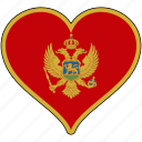 country, europe, european, flag, heart, love, montenegro icon