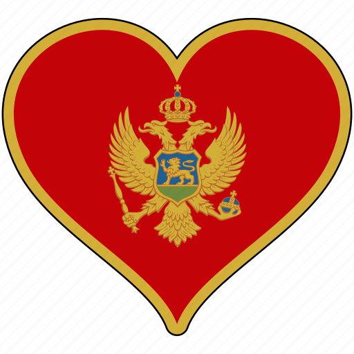 country, europe, european, flag, heart, love, montenegro icon