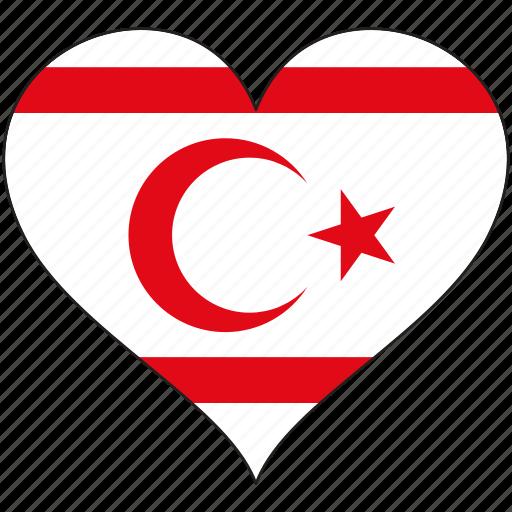 cyprus, europe, european, flag, heart, national, northern icon