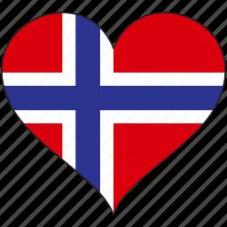 country, europe, european, flag, heart, norway icon