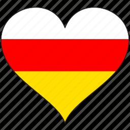 europe, european, flag, heart, ossetia icon