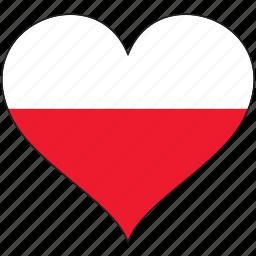 europe, european, flag, heart, love, national, poland icon