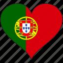 flag, heart, portugal, europe, european, country