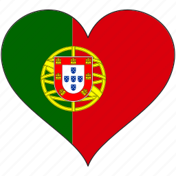 country, europe, european, flag, heart, portugal icon