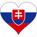 europe, european, flag, heart, slovakia icon