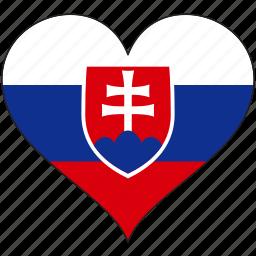europe, european, flag, heart, slovakia icon