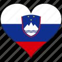 flag, heart, slovenia, europe, european icon