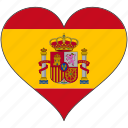 europe, european, flag, heart, love, national, spain icon