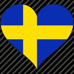 europe, european, flag, heart, national, sweden icon