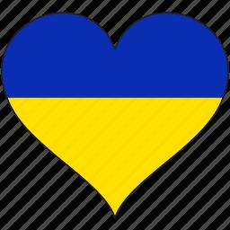europe, european, flag, heart, ukraine icon