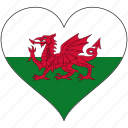 country, europe, european, flag, heart, wales icon